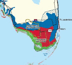 DOTTED=Biscayne Aquifer; RED=below 5ft; BLUE=5to11ft; GREEN=Mangroves